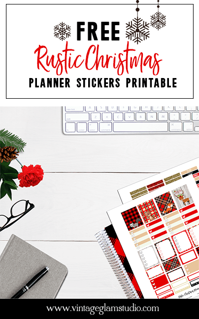 Christmas themed planner stickers printable