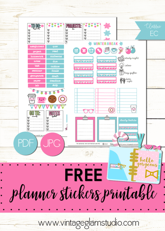 Winter Break | Free planner sticker printable for personal use