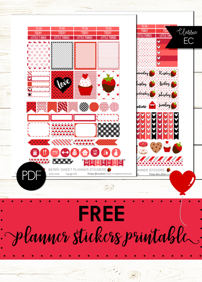 Berry Sweet planner stickers printable, free for personal use