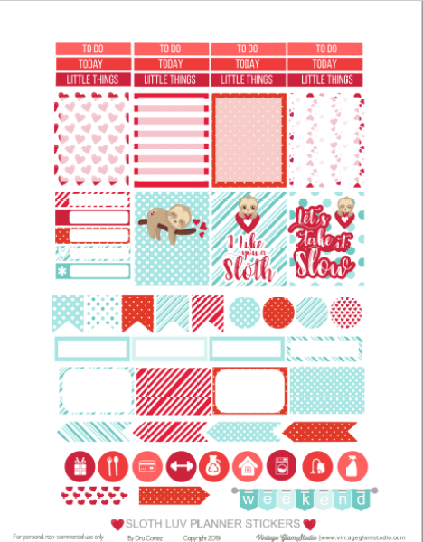 valentine planner stickers printable