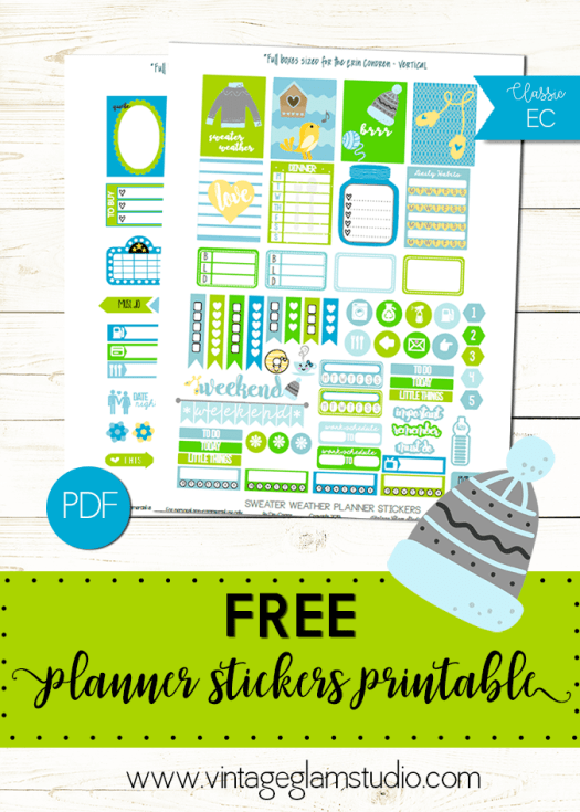 Sweater Weather planner stickers printable, free for personal use