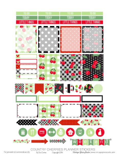 cherries planner stickers printable