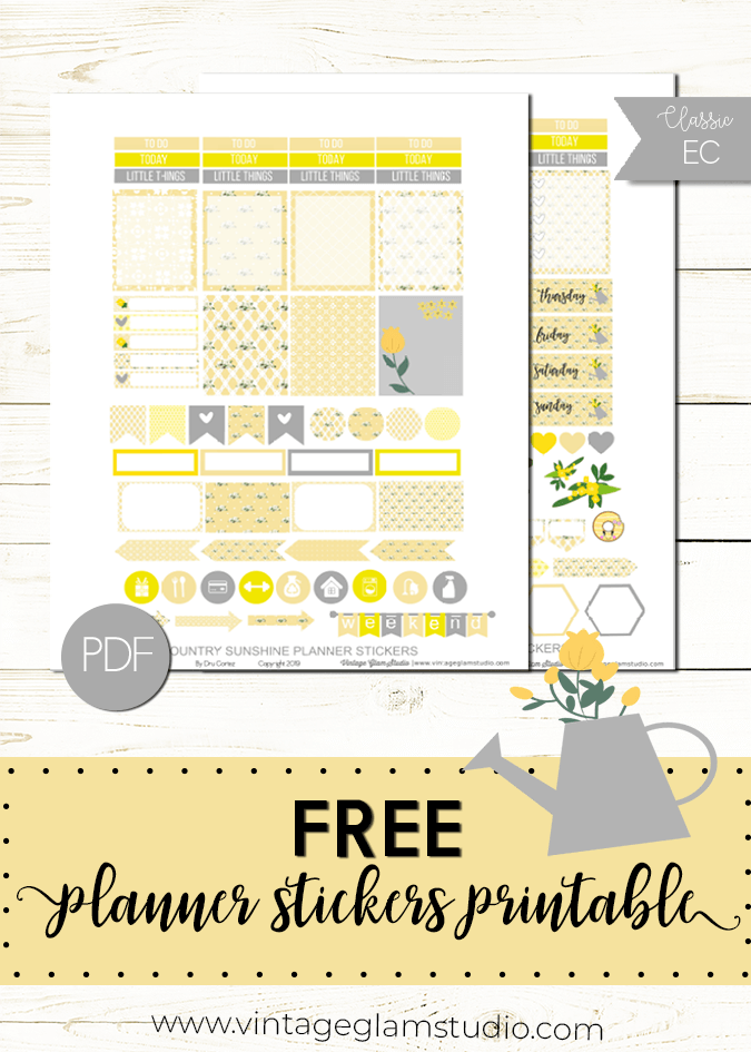Country Sunshine planner stickers, free printable