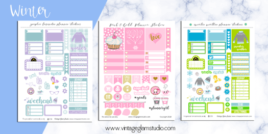 winter planner stickers printable