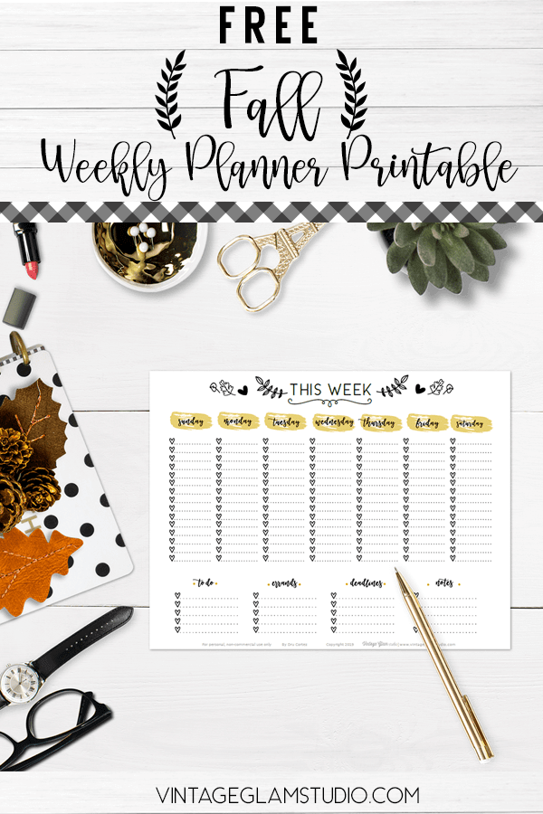 week at a glance planner printables