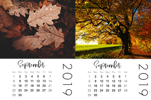 fall mini calendars for pocket scrapbooking