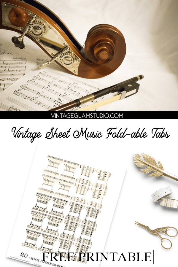 vintage sheet music fold-able tabs