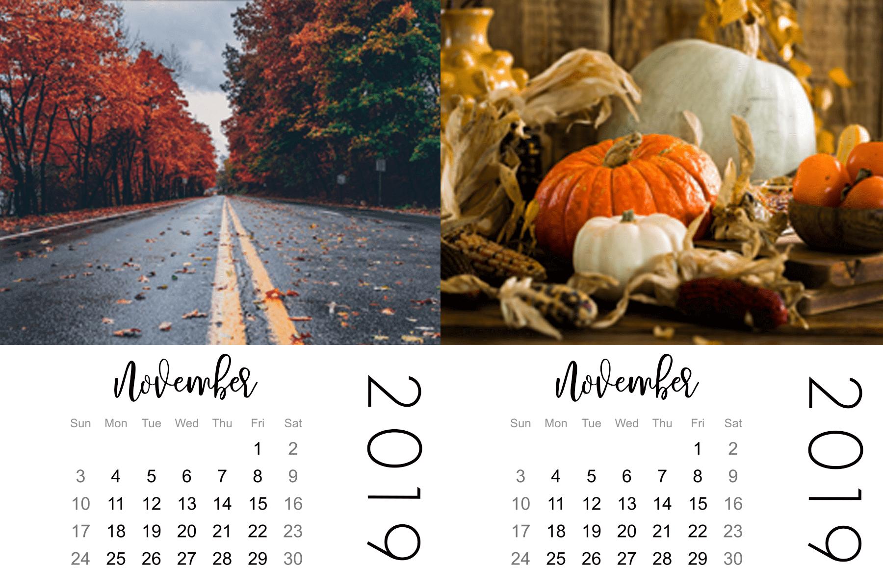 november mini calendar