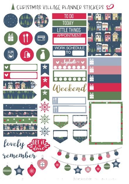 cricut ready christmas planner stickers