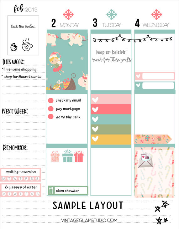 planner stickers sample layout