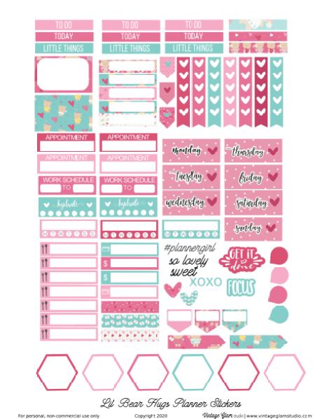 Valentine planner stickers