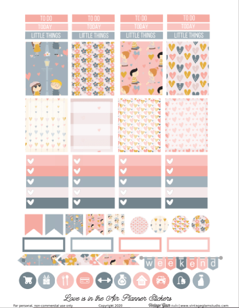 Valentine planner stickers printable