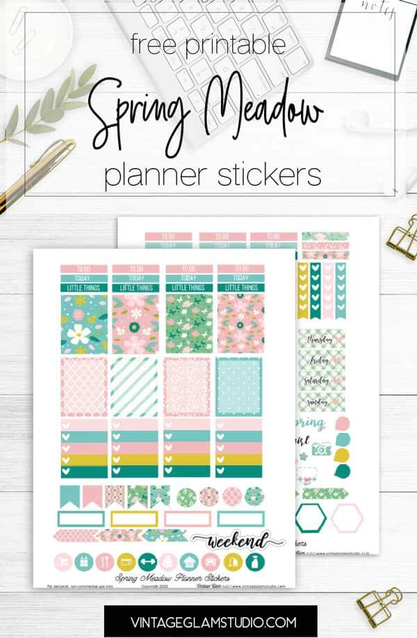 spring meadow planner stickers