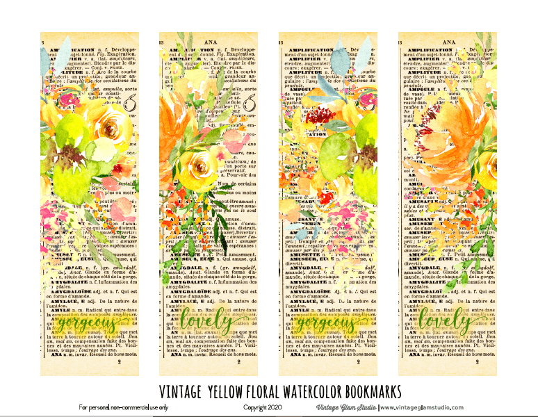 vintage floral bookmarks printable