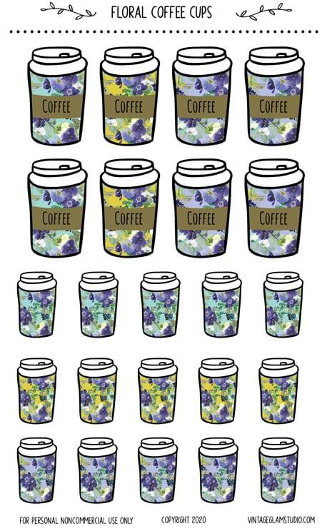 floral watercolor coffee cup planner stickers