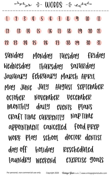 words planner stickers