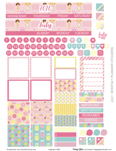 monthly layout planner stickers