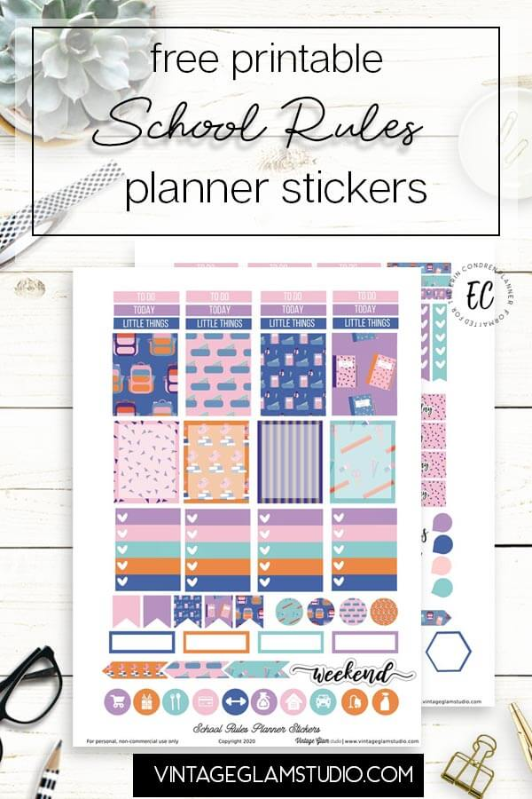 school planner stickers on desktop