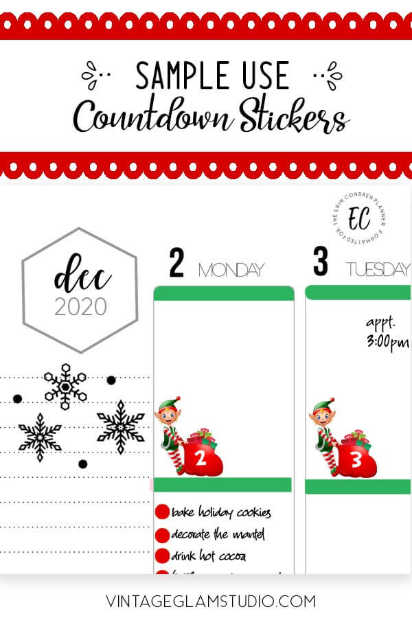 elf countdown sticker