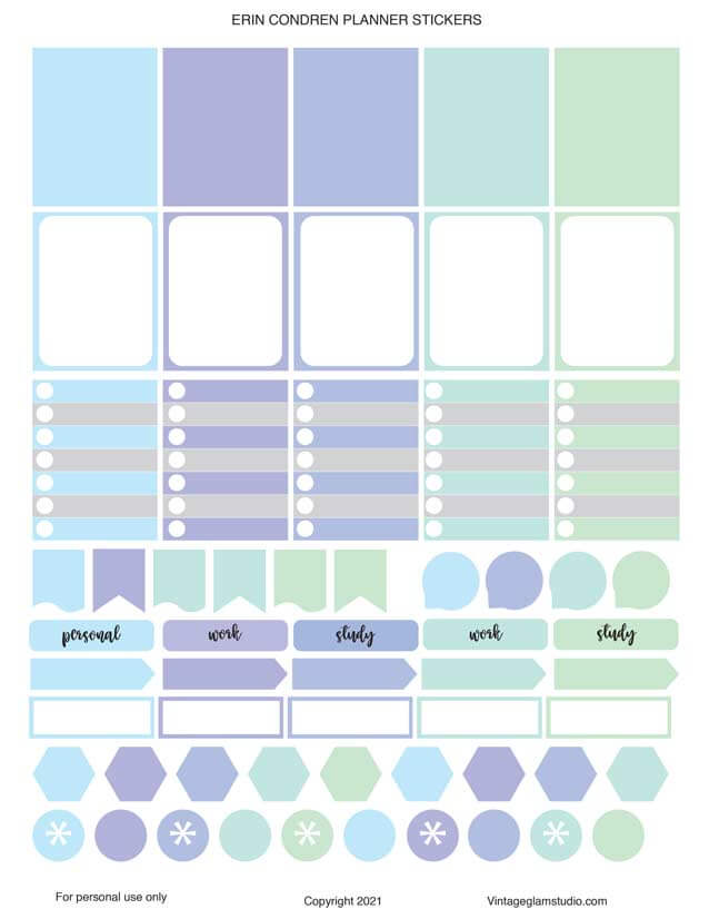 winter colors planner stickers