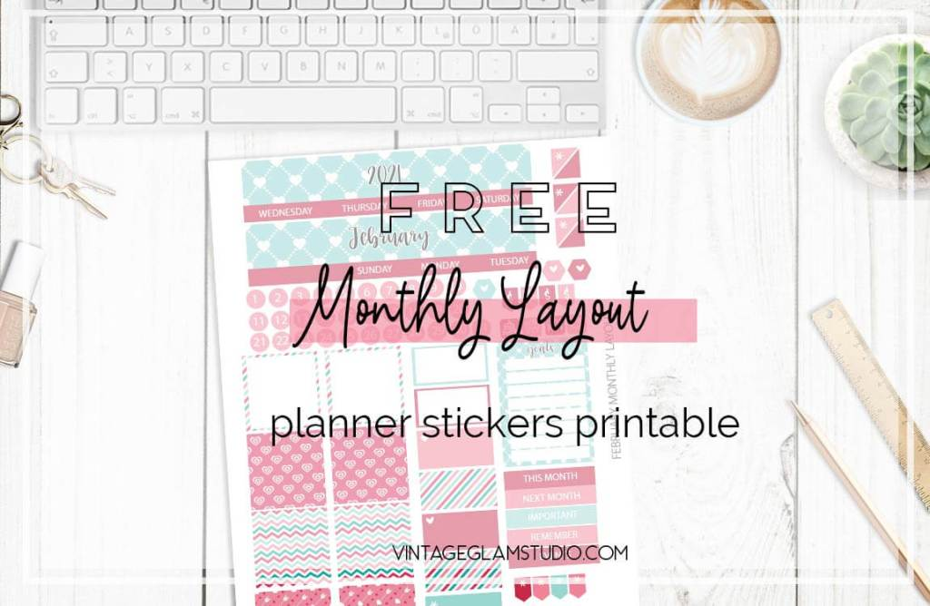 monthly planner stickers, desktop