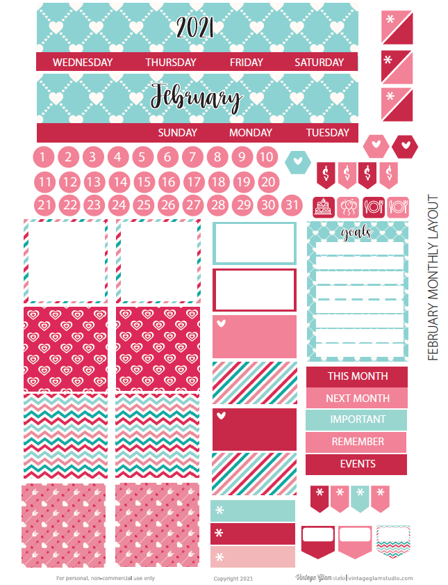monthly layout planner stickers with header