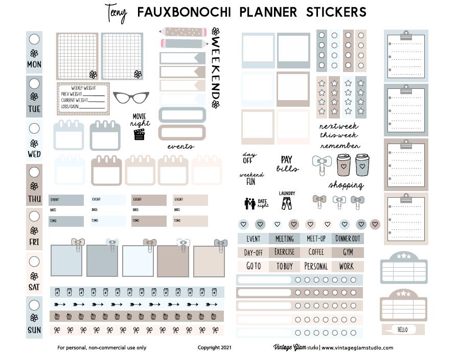 neutral fauxbonichi planner stickers
