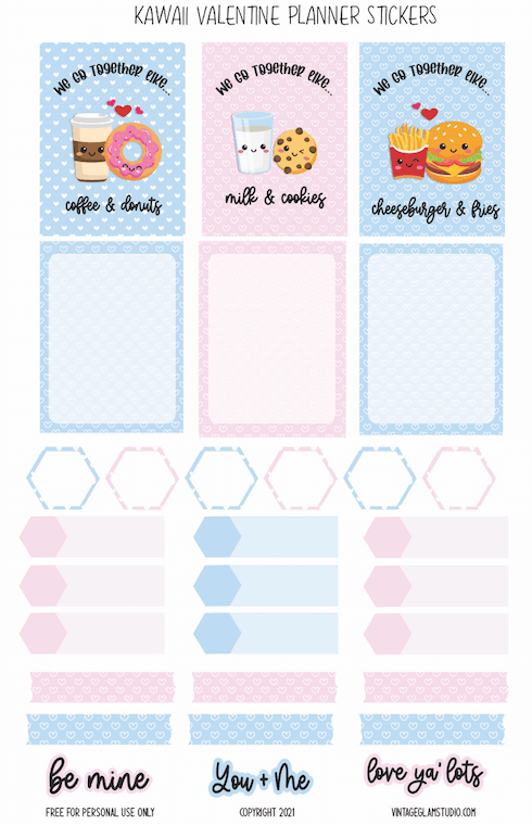 Valentine's Day Kawaii planner stickers
