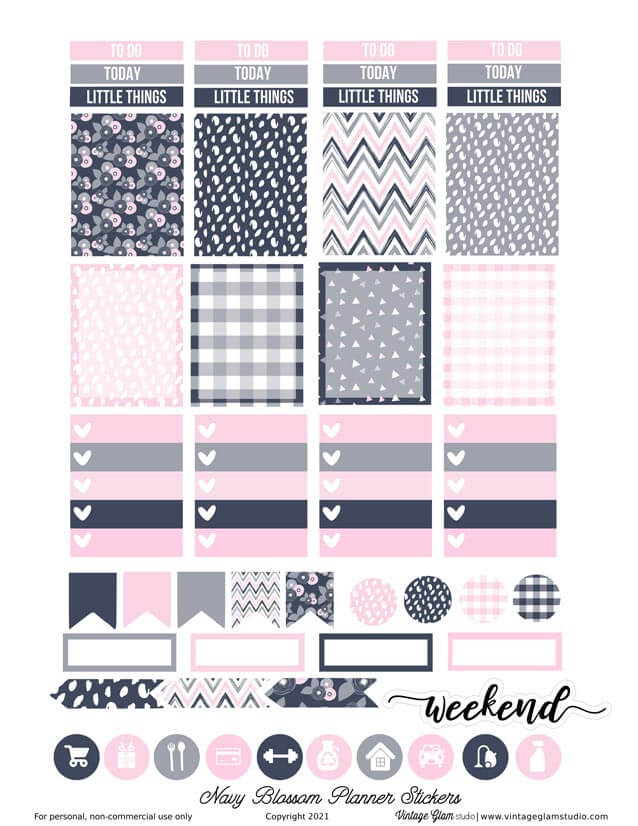 navy and pink planner stickers