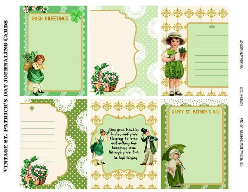 vintage st. Patrick's journaling cards