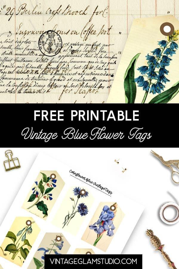 vintage blue flower tags