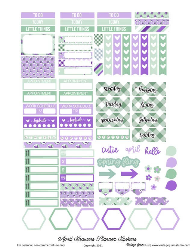 april showers planner stickers