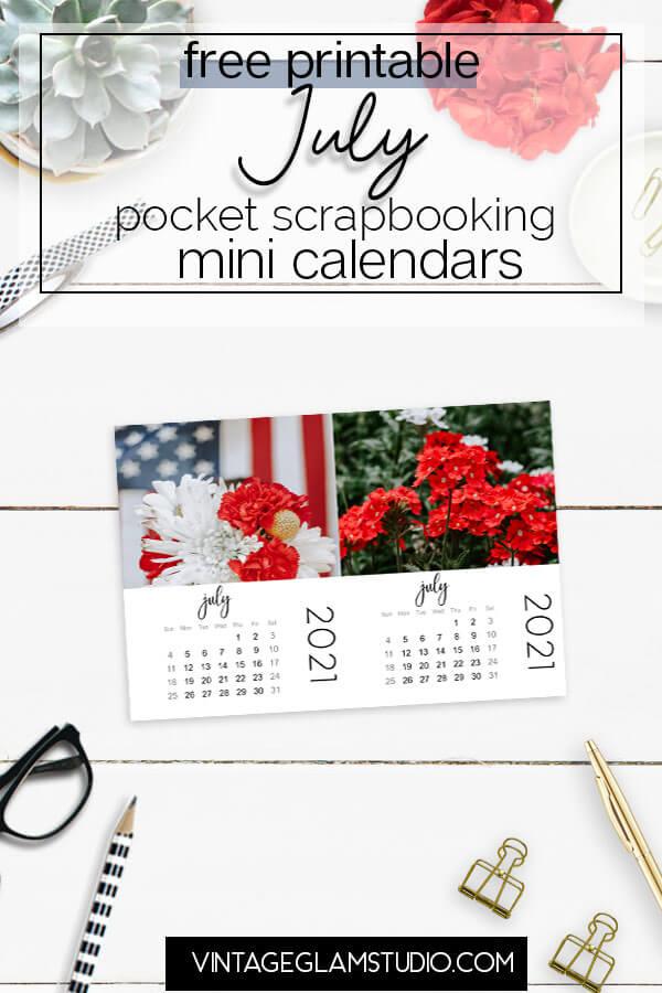 mini calendar, july