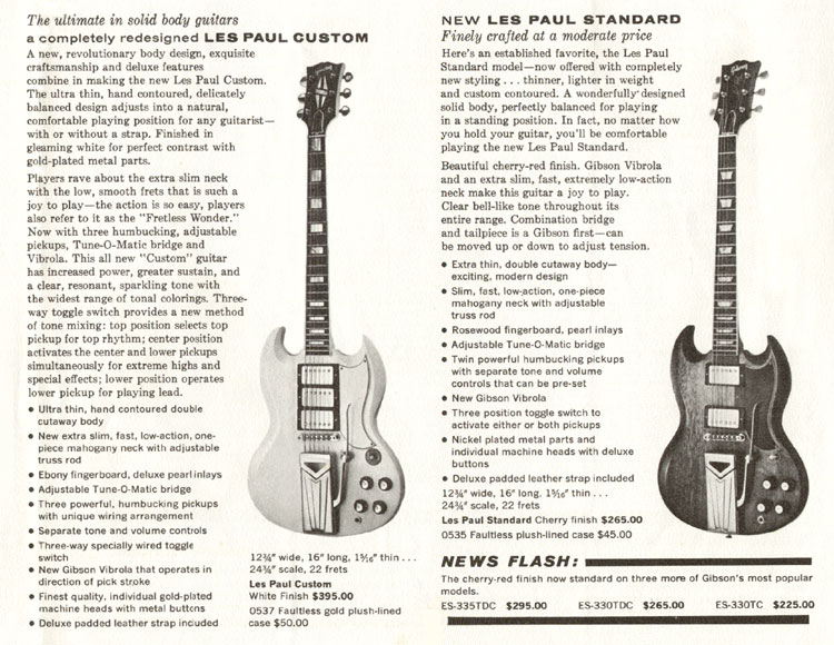Gibson SG Custom and Gibson SG Standard 1961 catalogue