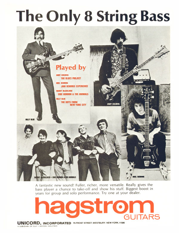 Hagstrom H8 Eight String Bass, 1968 Hagstrom advertisement