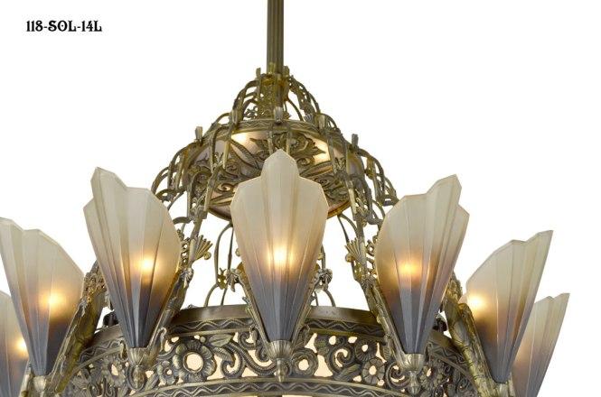 Vintage Hardware Lighting 36 1 2 Large Art Deco Chandelier 14 Light Soleure Slip Shade Original Kenk Design 118 Sol 14l
