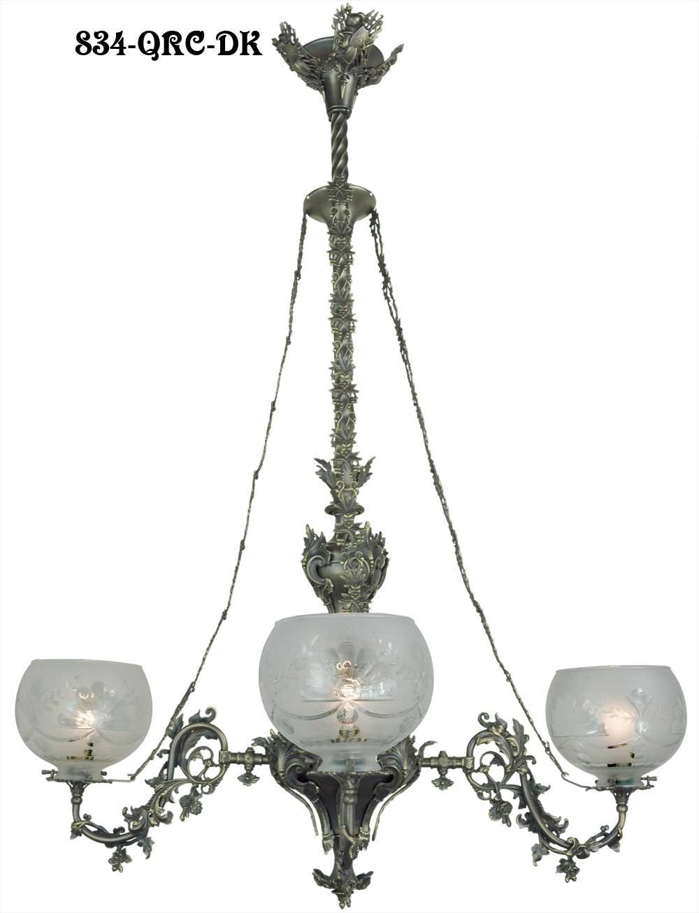 victorian chandelier neo rococo c 1840 gasolier 4 arm light 834 qrc ch