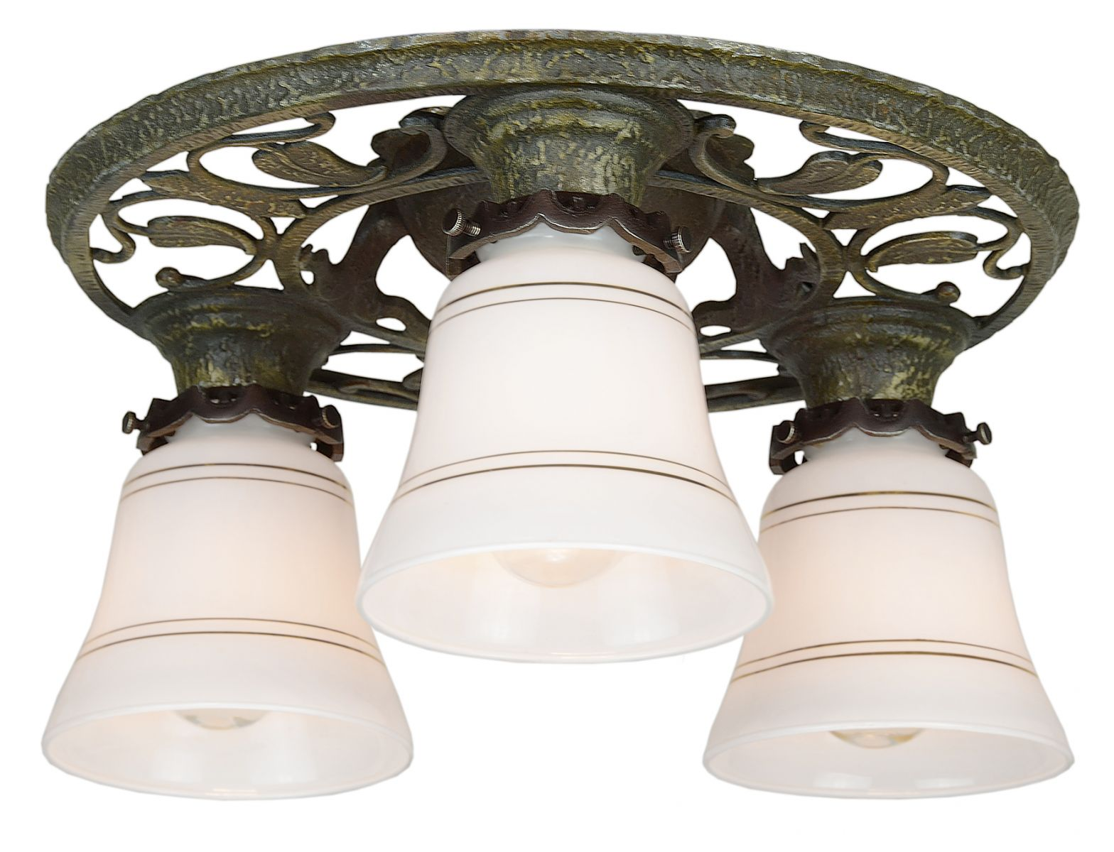matched pair of turn of the century three light arts crafts low ceiling chandeliers ant 1012