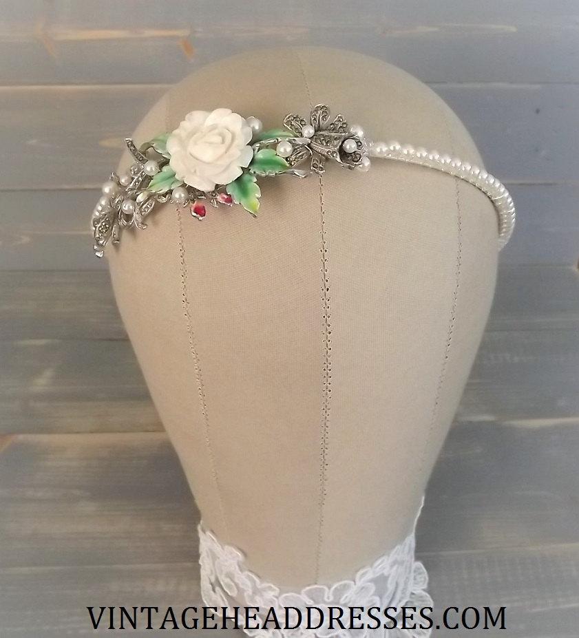Floral Marcasite Bridal Headband By Vintage Headresses