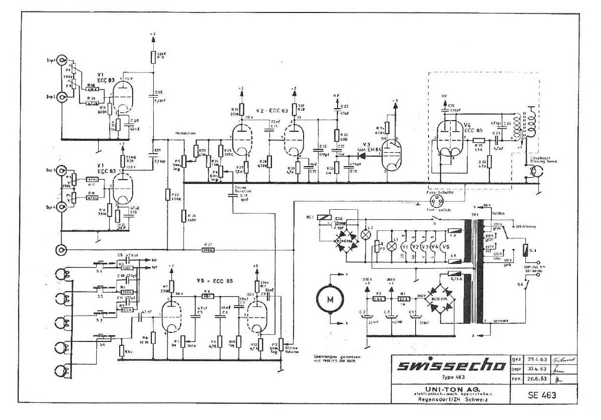 Swissecho 463 Echo Unit Schematic Uniton Drawn
