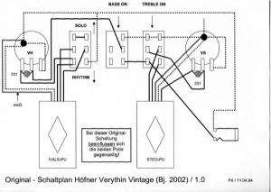 Hofner 5001 Bass Guitar Schematic Diagram