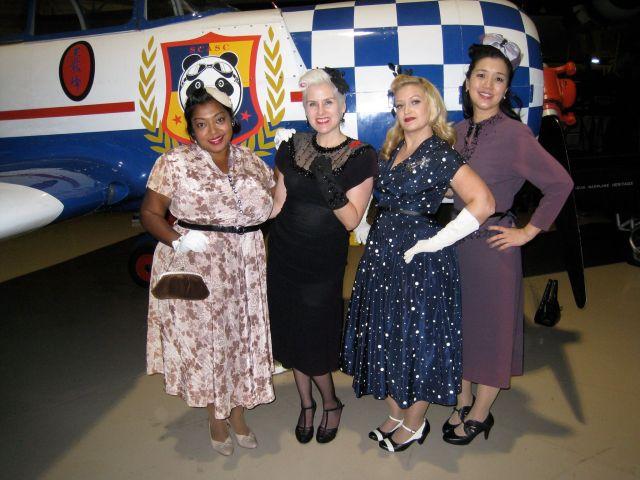 Vintage 1940s dresses at a 1940s dance