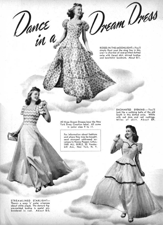 1940s Formal Vintage Gowns Ad