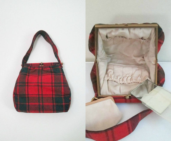 1950s vintage plaid purse