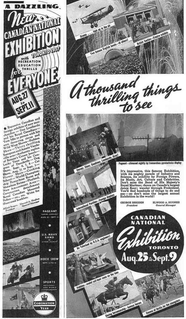 Canadian National Exhibition 1937 vintage advertising