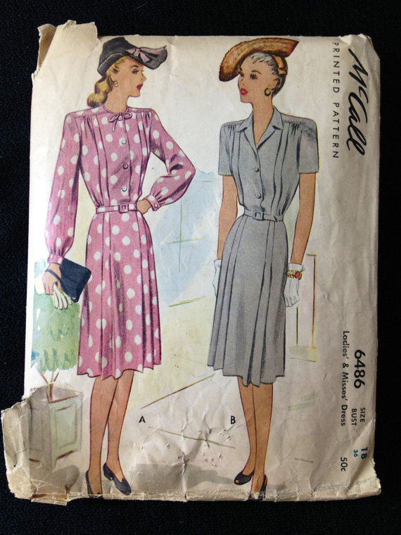 1940s Shirtwaist dress pattern