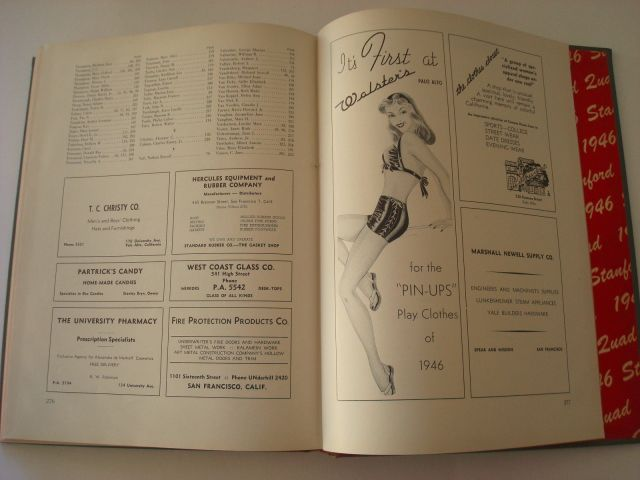 1940s vintage advertising in a yearbook