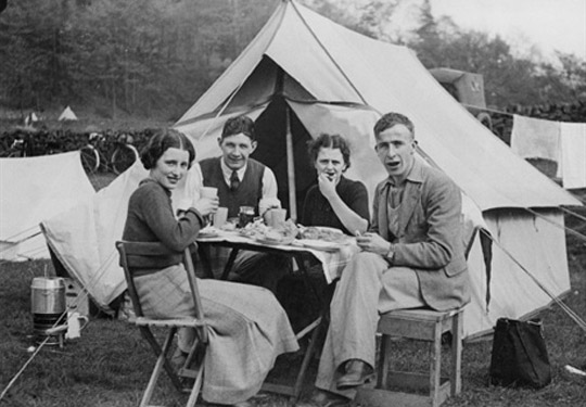 1930s camping in a tent