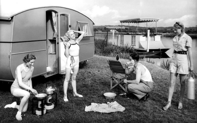 1930s vintage camping image