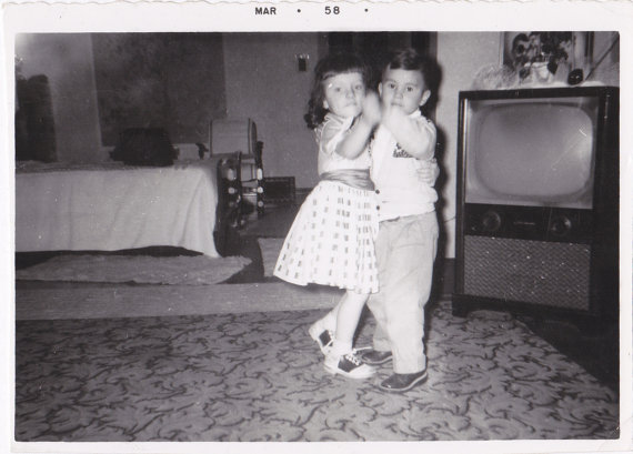 1950s children dancing vintage image